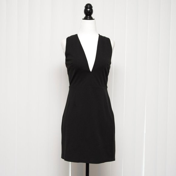 Savoie Black Dress with Lace-up Back Plunging Neck